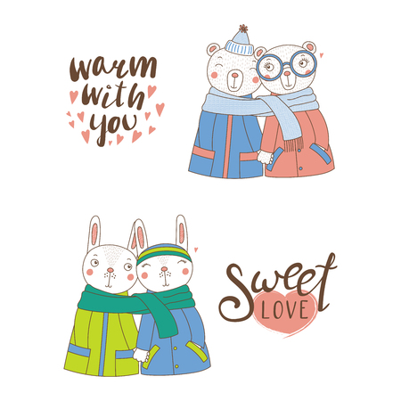 Set of hand drawn cute funny animal couples, holding hands and wrapped in a muffler, with typography. Isolated objects on white background. Design concept for kids, Valentines day. Vector illustration