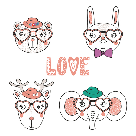 Set of hand drawn cute funny animals in heart shaped glasses.