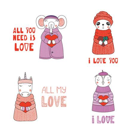 心とタイポグラフィとセーターや帽子でかわいい面白い漫画の動物を描いた手のセット。