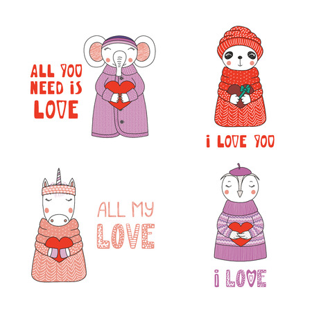 Set of hand drawn cute funny cartoon animals in sweaters and hats with hearts and typography.