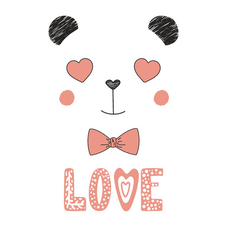 Hand drawn vector portrait of a cute funny panda with heart shaped eyes, romantic quote. Isolated objects on white background. Vector illustration. Design concept for children, Valentines day card.