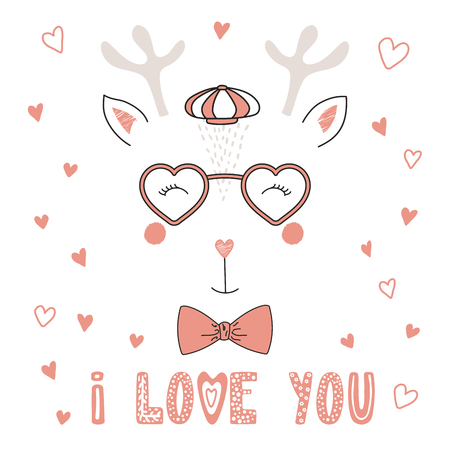 Hand drawn vector portrait of a cute funny deer in heart shaped glasses, with romantic quote. Isolated objects on white background. Vector illustration. Design concept children, Valentines day card.