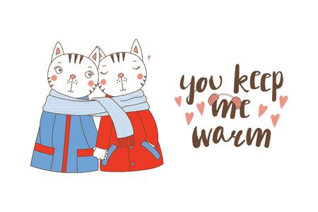 Illustration dessinée à la main d'un couple d'animal drôle mignon. Vecteurs