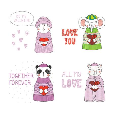 Set of hand drawn cute funny cartoon animalin sweaters, hats, holding hearts. Çizim