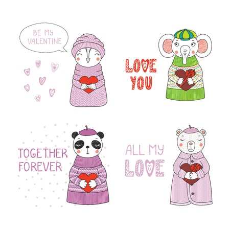 Set of hand drawn cute funny cartoon animalin sweaters, hats, holding hearts. Illustration