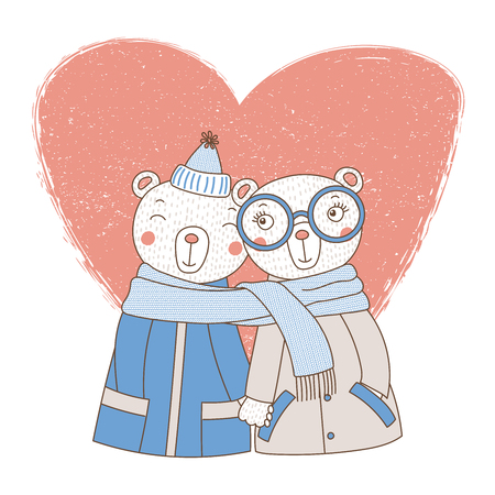 Hand drawn illustration of a couple of cute funny bears in coats.