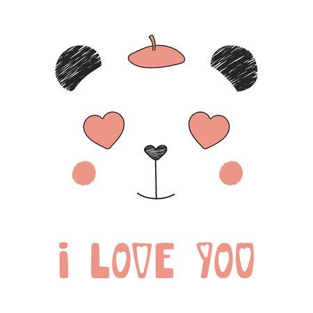 Hand drawn portrait of a cute funny panda with heart shaped eyes. Ilustrace