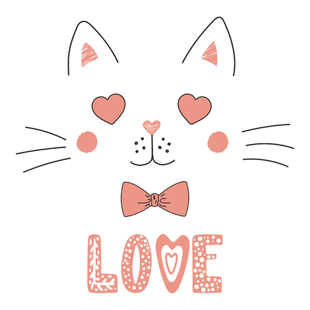 Hand drawn vector portrait of a cute funny cat with heart shaped eyes vector illustration Illustration