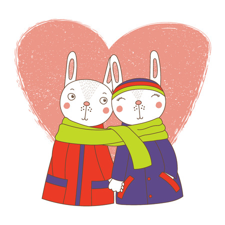 Hand drawn vector illustration of a couple of cute funny bunnies in coats, holding hands and wrapped in one scarf, with heart. Isolated objects on white background. Design concept kids, Valentines day