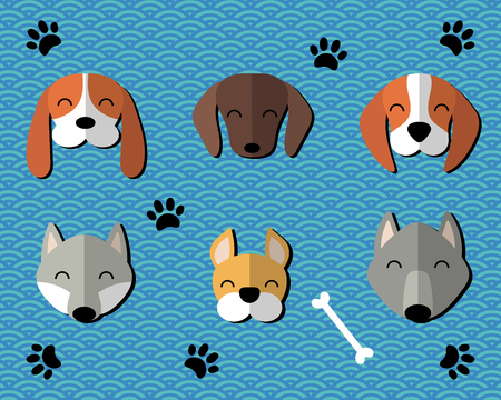 Collection of paper cut cute funny cartoon dogs of different breeds. Isolated objects. Vector illustration. Design concept for children. Illustration