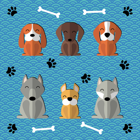 Collection of paper cut cute funny cartoon dogs of different breeds. Illustration