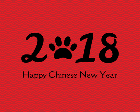 2018 Chinese New Year greeting card, banner with numbers with dog paw print, typography Happy Chinese New Year. Isolated objects. Vector illustration. Festive design elements.