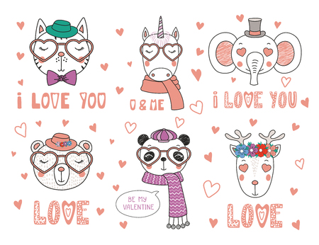 Set of hand drawn portraits of cute funny animals with different accessories, romantic quotes. Isolated objects on white background. Design concept children, Valentines day card.