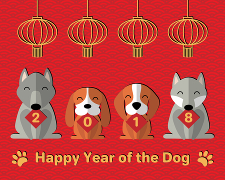 2018 Chinese New Year greeting card, banner with cute funny cartoon dogs holding cards with numbers, lanterns, paw prints, typography. Isolated objects. Vector illustration. Festive design elements.