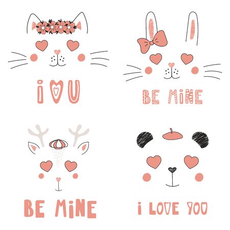 Set of hand drawn portraits of cute funny animals with heart shaped eyes, romantic quotes vector illustration