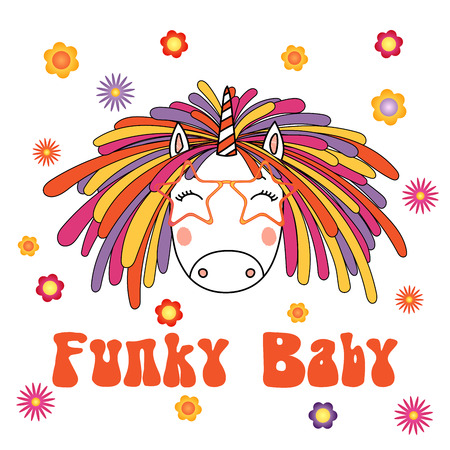 Hand drawn vector portrait of a cute funny cartoon unicorn with funky dreadlocks and glasses, with typography.
