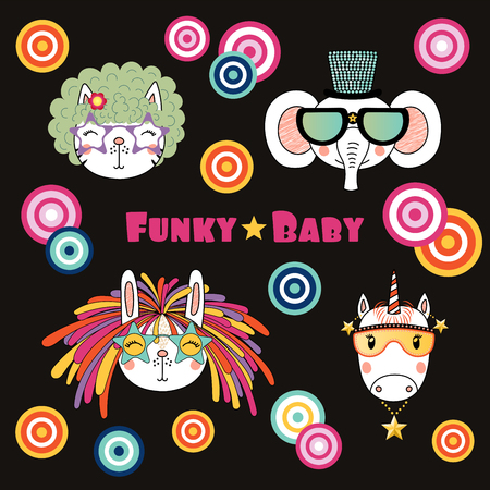 Set of hand drawn portraits of cute funny cartoon animals in funky hats and glasses, with typography. Isolated objects. Vector illustration. Design concept for children.