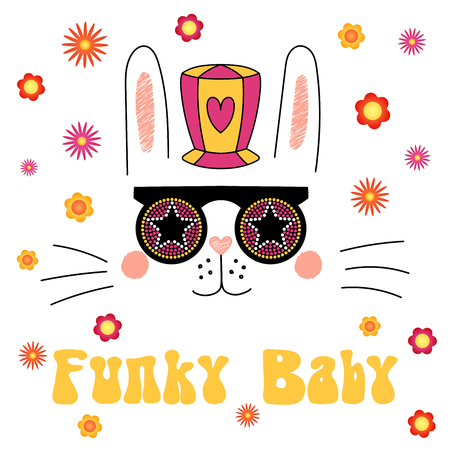 Hand drawn vector portrait of a cute funny cartoon bunny in funky hat and glasses, with typography. Isolated objects on white background. Vector illustration. Design concept for children.