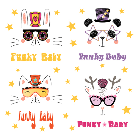 Set of hand drawn portraits of cute funny cartoon animals in funky hats and glasses, with typography.