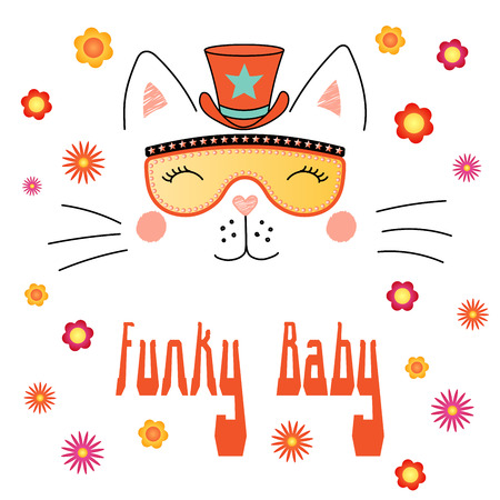 Hand drawn vector portrait of a cute funny cartoon cat in funky hat and glasses, with typography.