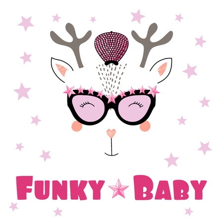 Hand drawn vector portrait of a cute funny cartoon reindeer in funky hat and glasses, with typography. Illustration