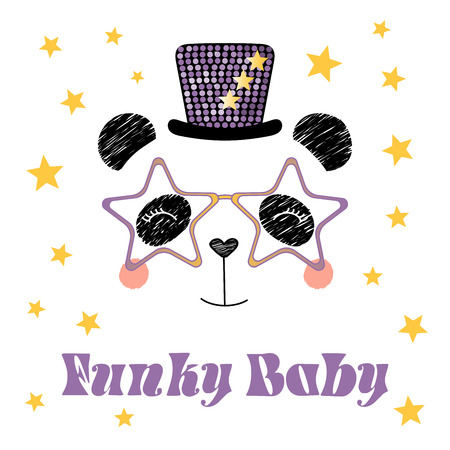 Hand drawn vector portrait of a cute funny cartoon panda in funky hat and glasses, with typography.