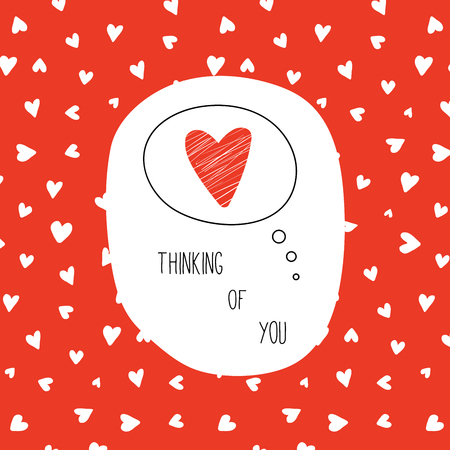 Hand drawn Valentines day greeting card with red heart in a thought bubble and text Thinking of you. Isolated objects on red background. Vector illustration. Design concept for children. Stock Illustratie