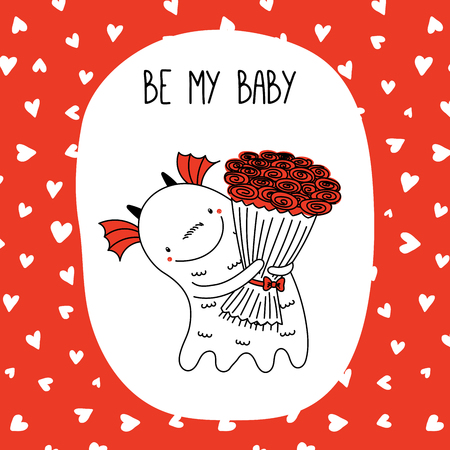 Hand drawn vector illustration of a cute funny cartoon alien monster, holding a bouquet of roses, with typography. Isolated objects on white and red background. Design concept for children, Valentines day.