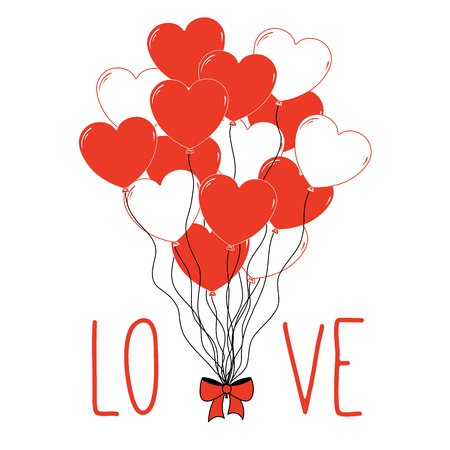 Hand drawn Valentines day greeting card with a bunch of heart shaped balloons tied with a ribbon and text Love. Isolated objects on white background. Vector illustration. Design concept for children.