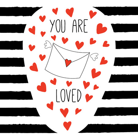 Hand drawn Valentines day greeting card with flying envelope and hearts, text You are loved. Isolated objects on black and white striped background. Vector illustration. Design concept for children. Ilustração