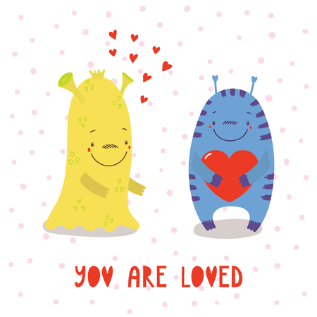 Hand drawn vector illustration of cute funny cartoon alien monsters, with romantic quote. Isolated objects on white background. Flat style. Design concept for children, Valentines day. Illustration