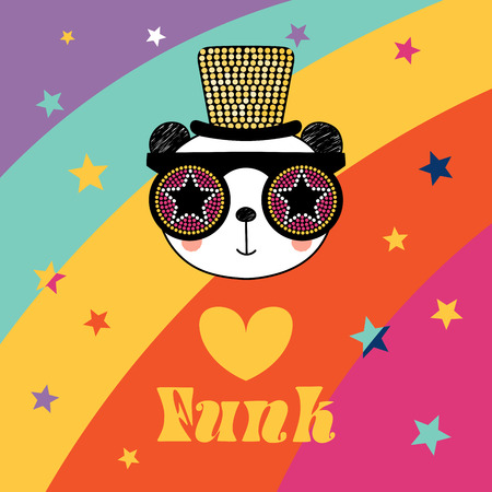 Hand drawn vector portrait of a cute funny cartoon panda in funky hat and glasses, with typography. Isolated objects. Vector illustration. Design concept for children.