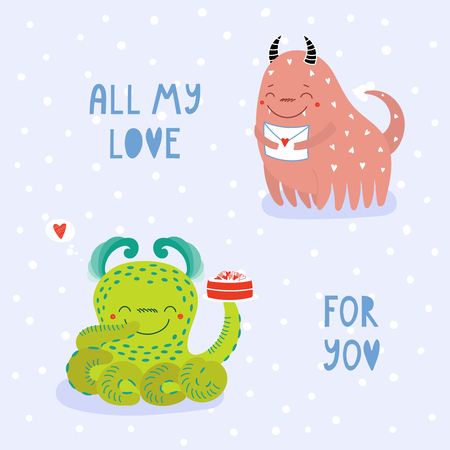 Hand drawn cute cartoon alien monsters with romantic quote Ilustracja