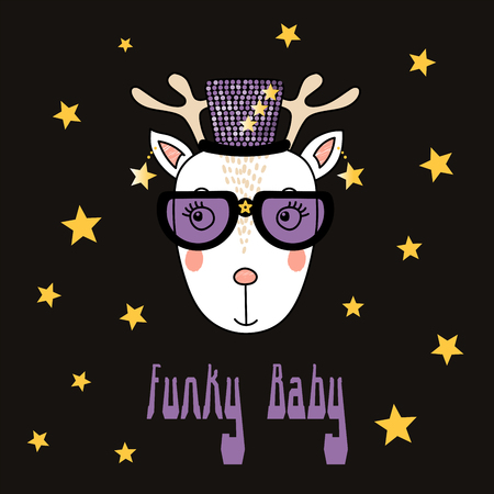 Hand drawn vector portrait of a cute funny cartoon reindeer in funky hat and glasses, with typography. Isolated objects. Vector illustration. Design concept for children.