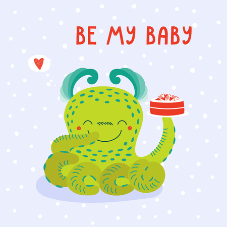 Hand drawn vector illustration of a cute funny cartoon alien monster, holding a cake on a plate, with typography. Isolated objects on white background. Design concept for children, Valentines day.