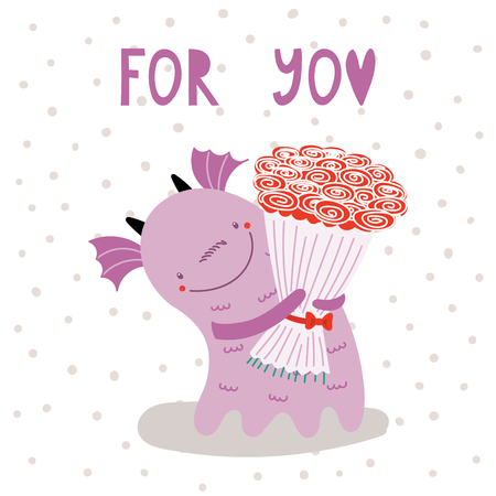 Hand drawn vector illustration of a cute funny cartoon alien monster, holding a bouquet of roses, with typography. Isolated objects on white background. Design concept for children, Valentines day.