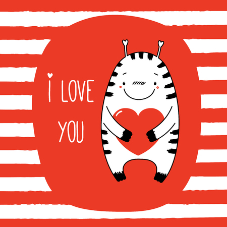 Hand drawn vector illustration of a cute funny cartoon alien monster, holding a heart, with typography. Isolated objects on striped background. Design concept for children, Valentines day.