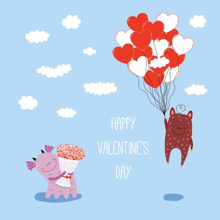 Hand drawn vector illustration of cute funny cartoon alien monsters, with romantic quote. Isolated objects on blue background. Flat style. Design concept for children, Valentines day.