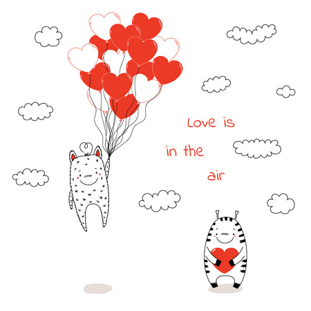 Hand drawn  illustration of cute funny alien monsters, with romantic quote.