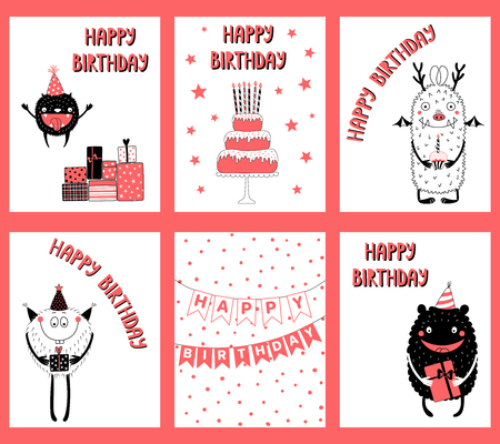 set of hand drawn birthday cards gift tags templates with cute