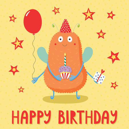 Hand drawn birthday card with cute funny monster in a party hat, holding present, balloon, cupcake, with text. Vector illustration. Isolated objects. Design concept children, birthday celebration