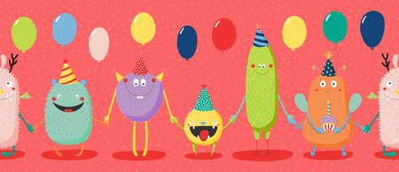 Hand drawn seamless horizontal vector pattern with cute funny monsters in party hats, smiling and holding hands, balloons. Vector illustration. Design concept for children, birthday celebration.