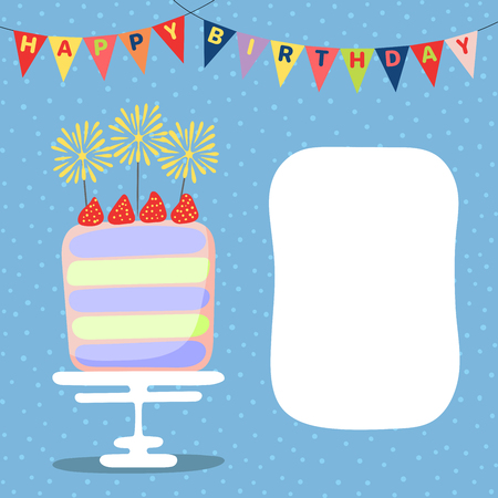 Hand drawn birthday card with a cartoon layer cake with strawberries, bunting with text, space for copy. Vector illustration. Isolated objects. Design concept for children, birthday celebration.