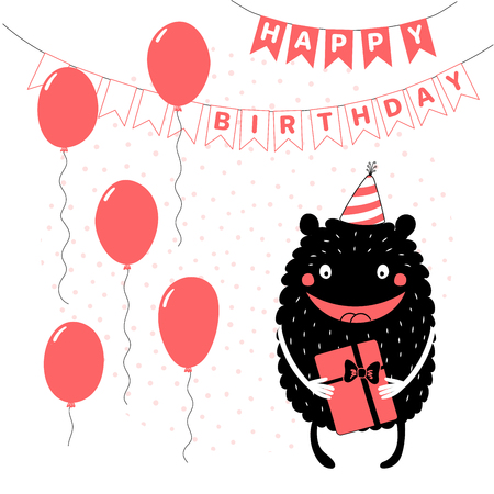 Hand drawn birthday card with cute funny monster in a party hat, holding a present, with text. Vector illustration. Isolated objects. Design concept for children, birthday celebration Illustration