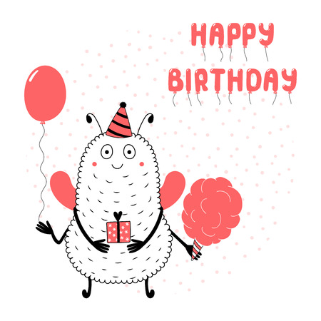 Hand drawn birthday card with cute funny monster in a party hat, holding present, balloon, cotton candy, with text.