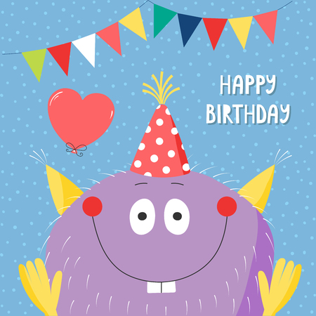 Hand drawn birthday card with cute funny monster in a party hat, with balloon, bunting, typography. Vector illustration. Isolated objects. Design concept for children, birthday celebration. Ilustração