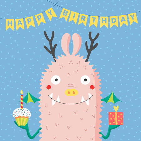 Hand drawn birthday card with cute funny monster, holding present, cupcake with a candle, with bunting, typography. Vector illustration. Isolated objects. Design concept children, birthday celebration