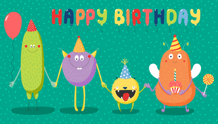 Hand drawn birthday card with cute funny monsters in party hats, smiling and holding hands, with typography.