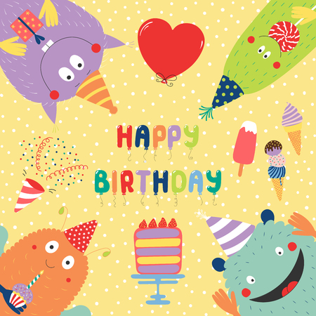 Hand drawn birthday card with cute funny monsters in party hats, looking from all sides, with cake, typography.