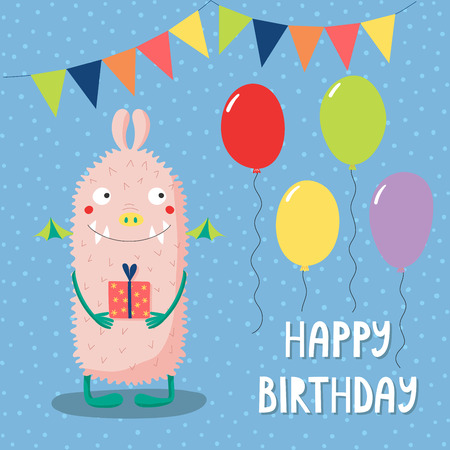Hand drawn birthday card with cute funny monster, holding a present, with balloons, bunting, text. Vector illustration. Isolated objects. Design concept for children, birthday celebration.